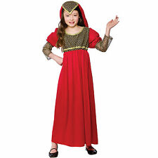 Girls Red Princess Juliet Costume Fancy Dress Up Party Halloween Outfit Child