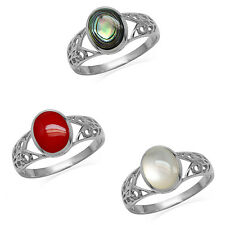 925 Sterling Silver Inlay Solitaire Filigree Casual Ring