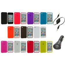 Color Hexagon Bubble TPU Rubber Case Cover+Aux+Charger for iPhone 4 4S 4G