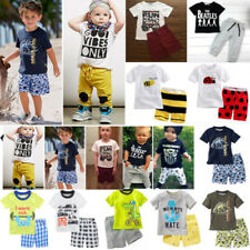 Toddler Kids Baby Boys Outfits Short Sleeve Tee Tops+Pants 2PCS Boy Clothes Set