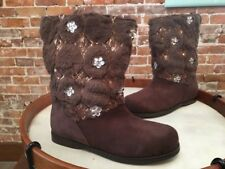 Joan Boyce Brown Quilted Faux Fur Ankle Boots New
