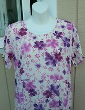 NWT ADINI Simple Rayon Purple & Cream Floral Full Length Dress Made in India