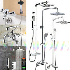 Round Square Mixer Shower Head Bathroom Bath Bathtub LED Thermostatic Valve Set