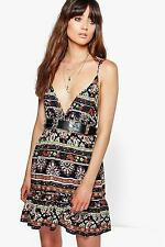 Boohoo Womens Amy Paisley Skater Dress