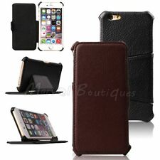 Classic Black Brown Leather Filp Hard Stand Case Cover for iPhone 6 6S Plus