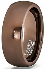 Mens Wedding Band Rare Brown Tungsten Ring Dome Style Comfort Fit