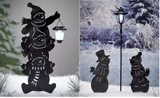 Solar Snowman Silhouette Lawn Yard Decor Outdoor Lighting ~ 3 Stacked or Couple
