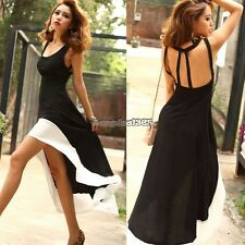 New Women U Neck Backless Asymmetric Hem Cocktail Evening Party Long Dress ED