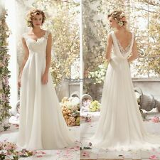 Lady Backless Beaded Lace Patchwork Chiffon Wedding Party Bridal Maxi Dress ED