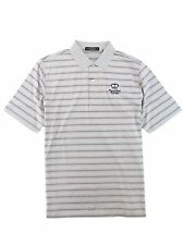 New Carnoustie Polo Shirt Gray Pink Striped Mens L XL Royal Links Golf Club Logo
