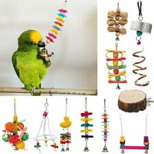 Pet Bird Bite Chew Play Toy Cage Budgie Hanging Swing Bell Stand Toy Various New