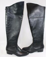 "NEW Womens STEVE MADDEN Koma 1"" Heels Black Leather 21"" High Zip Up Boots Shoes"