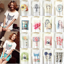 Womens Short Sleeve Loose Casual T Shirts Girls Batwing Tops Blouse Tee Pullover