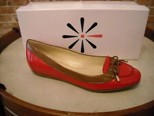 Isaac Mizrahi Skipper Red Leather 2 Tone Ballet Flats NEW