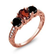 2.12 Ct Oval Red Garnet Black Diamond 18K Rose Gold Plated Silver Ring