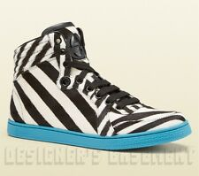 GUCCI calf hair Zebra stripe CODA blue trim high-top Sneakers NIB Authentic $895
