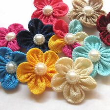 New 20/100 Ribbon Flowers Bows Rhinestone Appliques Wedding Decor Lots Mix A455