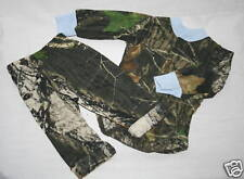 MOSSY OAK CAMO & BLUE DIAPER SHIRT & CAMOUFLAGE PANTS INFANT SET - 6-12MO