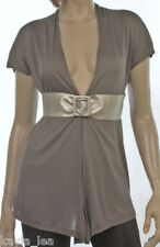 Gray Cap Sleeve Shrug/Cover-Up Drape Scarf Tunic Cardigan w Belt