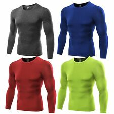 Mens Athletic Long Sleeve Compression Under Base Layer Shirt Tops Tight T-Shirts