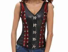 Black & Red Steampunk Gothic Vintage faux leather mesh detailing Corset