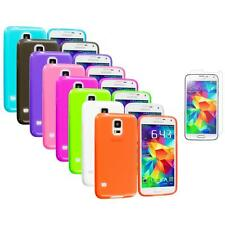 For Samsung Galaxy S5 SV TPU Transparent Soft Case Cover + Screen Protector