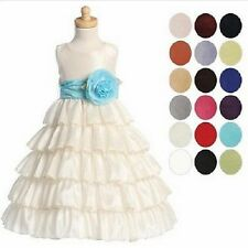 Girls Ivory Taffeta Layered Full Length Flower Girl Dress U CHoose Sash 5, 8, 12