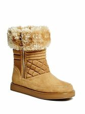 NEW GUESS ALONA BROWN FAUX SUEDE+NYLON,FUR TRIM WOMEN'S ANKLE BOOTS-SIZE 8