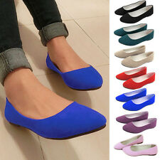 Womens Ballerina Suede Dolly Pump Casual Slip On Flat Single Boat Bridal Shoes