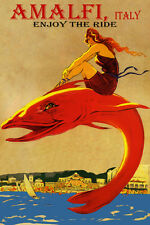 ENJOY THE RIDE AMALFI ITALY BEACH GIRL RIDING FISH TRAVEL VINTAGE POSTER REPRO