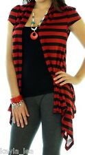 Red/Black Cap Sleeve Shrug/Cover-Up Drape Scarf Tunic