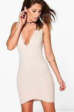 Boohoo Womens Becca Structured Rib Plunge Bodycon Dress