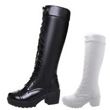 NEW WOMENS LADIES KNEE LENGTH BOOTS HIGH HEEL LONG FULL LACE UP BOOTIES SHOES