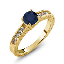 1.17 Ct Round Blue Sapphire White Diamond 18K Yellow Gold Plated Silver Ring