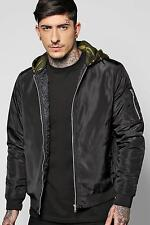 Boohoo Mens Quilted MA1 Bomber With Camo Jersey Hood