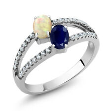1.28 Ct Oval Cabochon White Ethiopian Opal Blue Sapphire 925 Silver Ring
