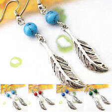 Buy 2 Get 1 Free Tibetan Silver Gemstone Handmade Feather Tibet Earrings EH520