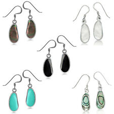 Casual Odd Shape Inlay Stone or Shell 925 Sterling Silver Dangle Drop Earrings