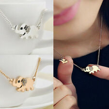 Cute Elephant Family Stroll Pandent Fashion Charming Crystal Chain Necklace HF