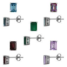 Octagon 7*5 Genuine Gemstone 925 Sterling Silver Stud Post Earrings