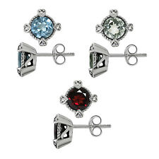 Genuine Gemstone 925 Sterling Silver Heart Prongs Rope Post Earrings