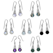 925 Sterling Silver Cabochon/Inlay Gemstone Celtic Knot Dangle Hook Earrings