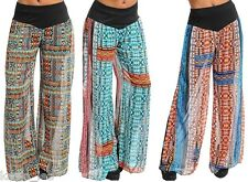 Multi Color Tribal Sheer Chiffon Shorts Lined Wide Leg Long Pants/Palazzo