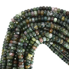"""Faceted Indian Agate Rondelle Beads Gemstone 15"""" Strand 6mm 8mm 10mm"""