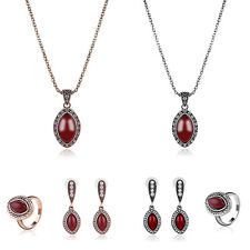 VINTAGE MARQUISE CUT RESIN PENDANT RHINESTONE NECKLACE RING EARRING SET CHEERFUL