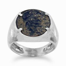 Hammered Sterling Silver ANCIENT ROMAN COIN RING Late Era 300-400CE Bronze w/COA