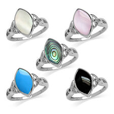 Marquise 14*7MM Gemstone Inlay 925 Sterling Silver Triquetra Celtic Knot Ring