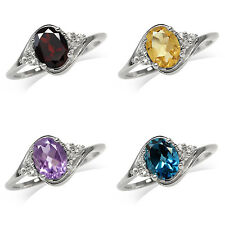 Genuine Gemstone Gold Plated 925 Sterling Silver Engagement/Birthstone Ring