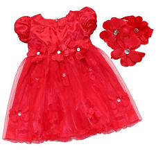 Cute Baby Girl Red Princess Dress+Headband Set For Xmas Party Wedding Party