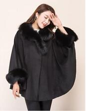 coat cloak womens real fox fur collar fleece belted Wool blended parka outwear